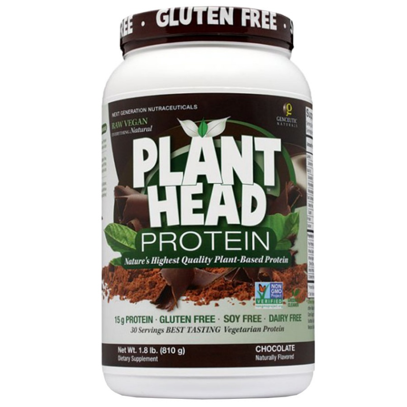 Genceutic Naturals Chocolate Cacao Dietary Plant Head Protein Powder 30 Servings