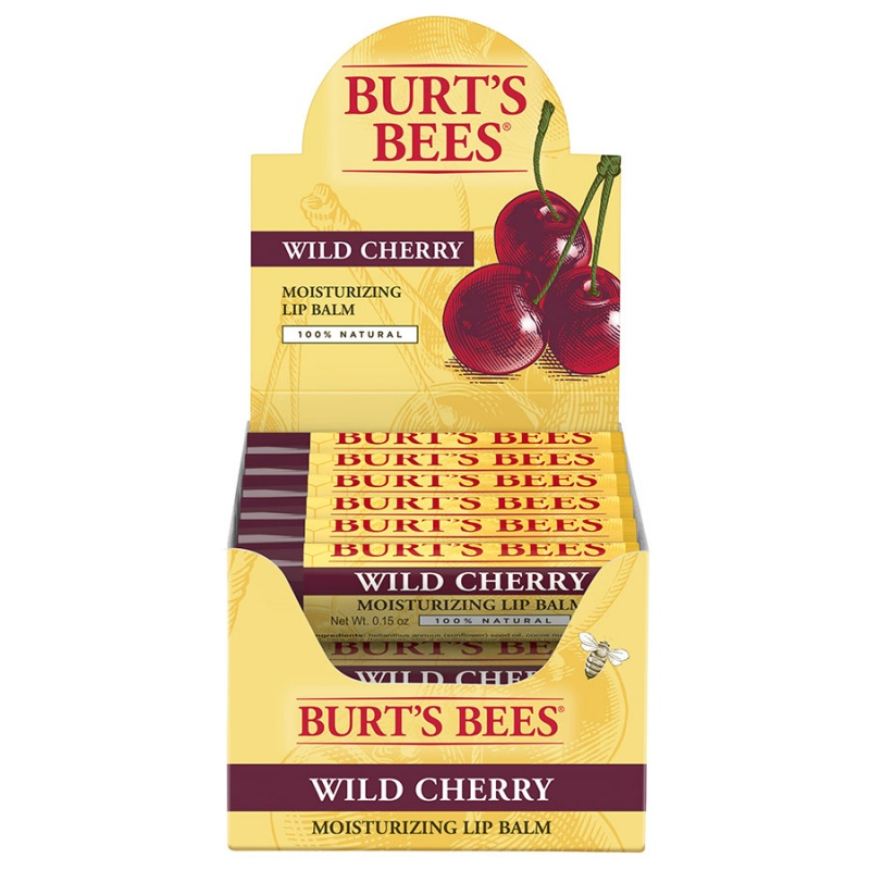 Burt's Bees Wild Cherry Lip Balm Display 12 (0.15 Oz.) Tubes