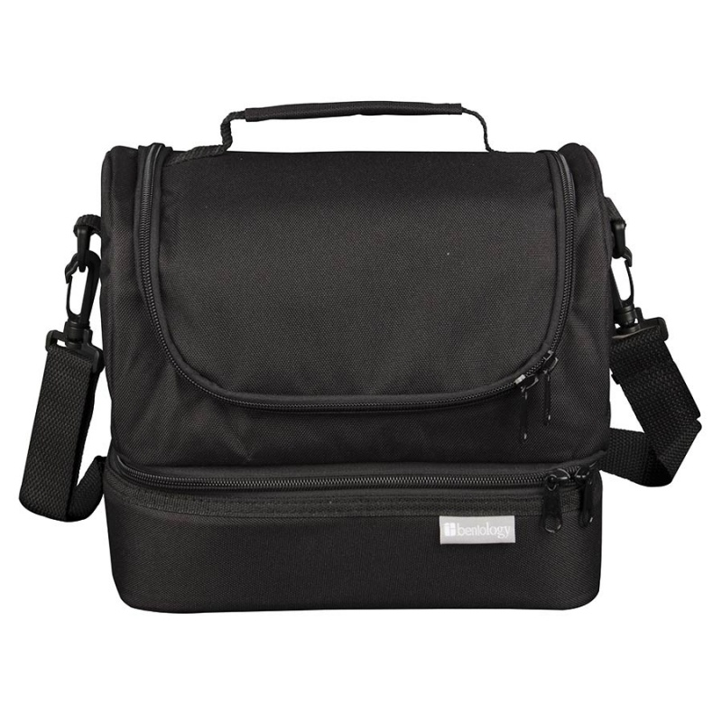 Bentology Black Insulated Dual Compartment Bag 7 1/2 X 9 1/2 X 7 1/2