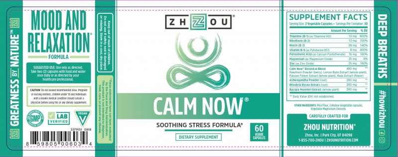 Zhou Calm Now Soothing Stress Formula 60 Count