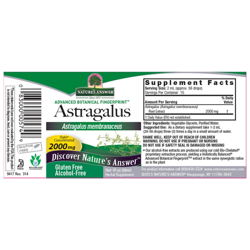 Nature's Answer Astragalus Root Extract 1 Fl. Oz