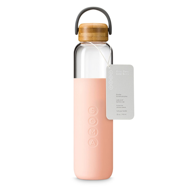 S O M A Blush Glass Water Bottle With Handle 25 Oz