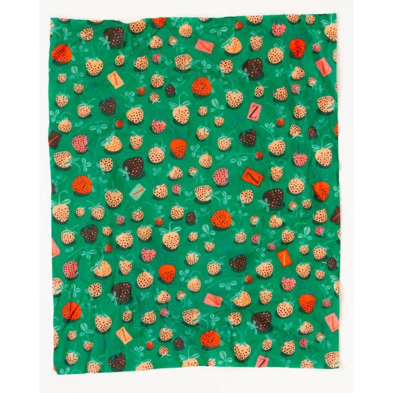 Z Wraps Medium Beeswax Wrap, Strawberry Fields Print 12 X 12