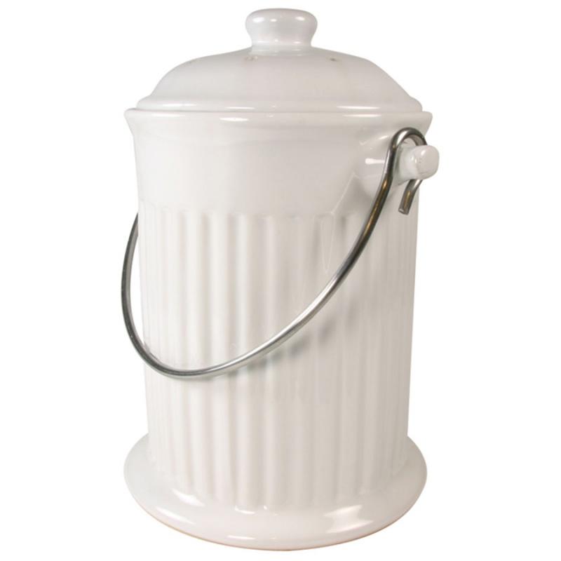 White Ceramic Compost Keeper 1 Gallon