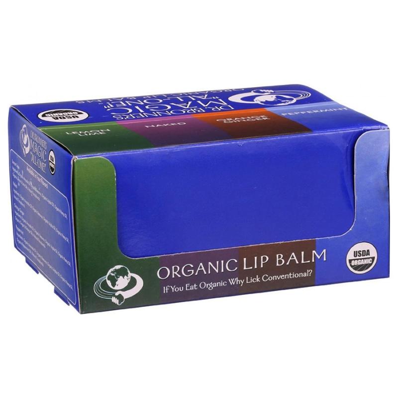 Dr. Bronner's Magic Soaps Organic Lip Balm Counter Display 48 (0.15 Oz.) Tubes