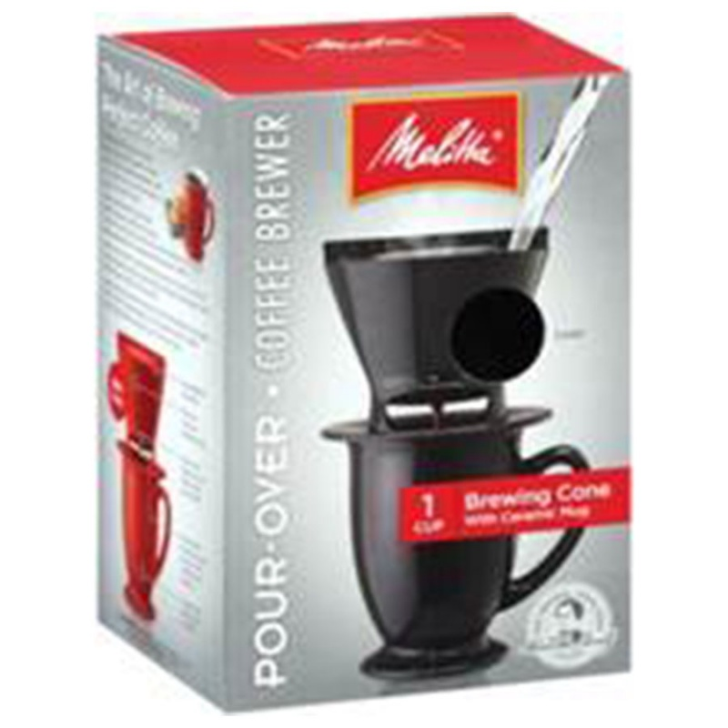 Melitta Black Pour- Over Coffee Brewer Cone With Ceramic Mug 1 Cup