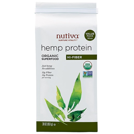 Nutiva Organic Hi-fiber Hemp Protein Powder 30 Oz.