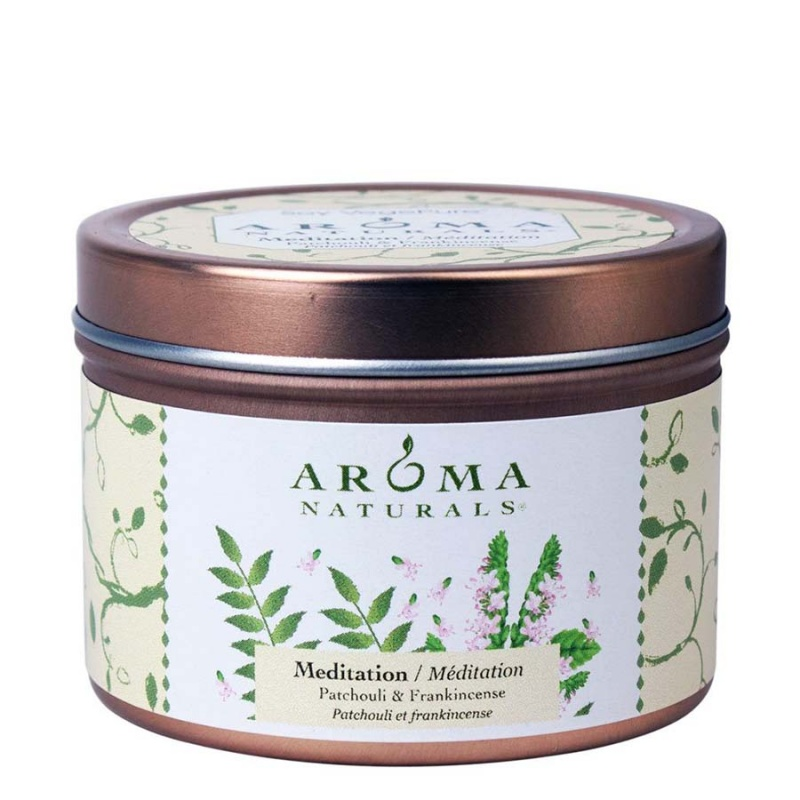 Aroma Naturals Meditation White Small Tin 2 1/2 X 1 3/4