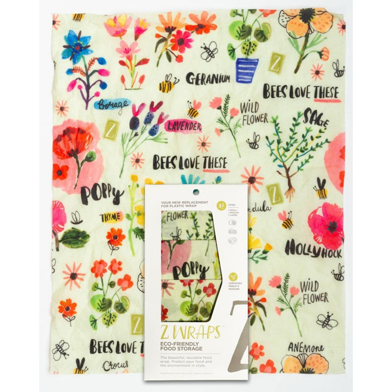 Z Wraps 3- Pack Beeswax Wrap, Bees Love These Print