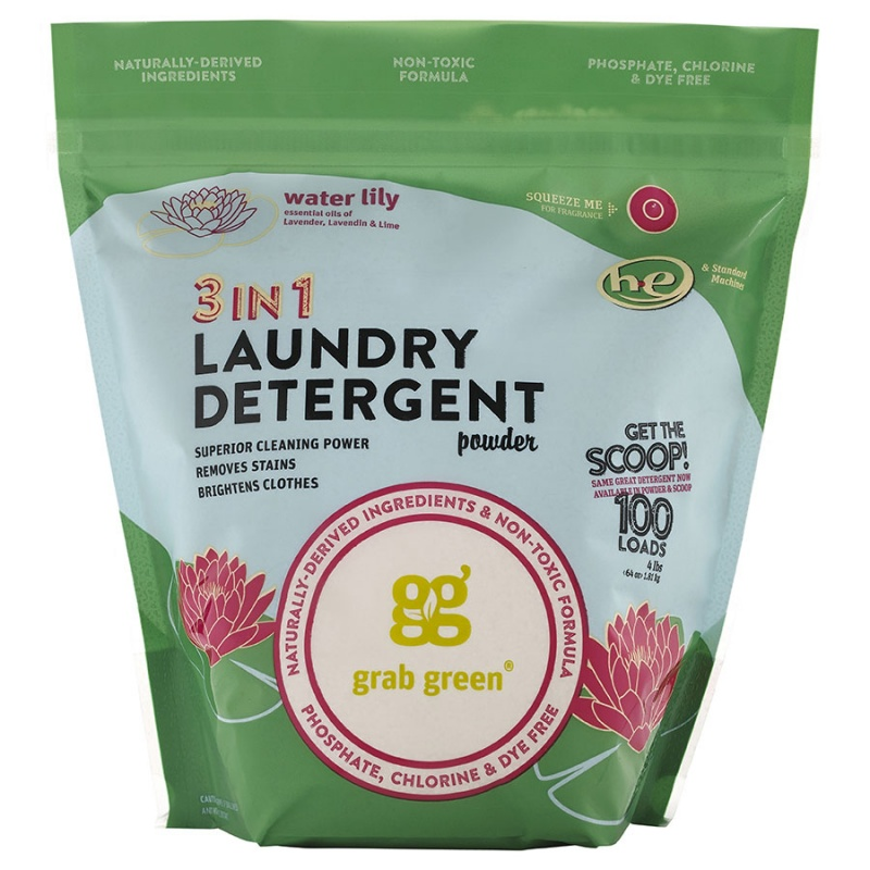 Grab Green Water Lily 3-In-1 Laundry Powder With Scoop 100 Loads