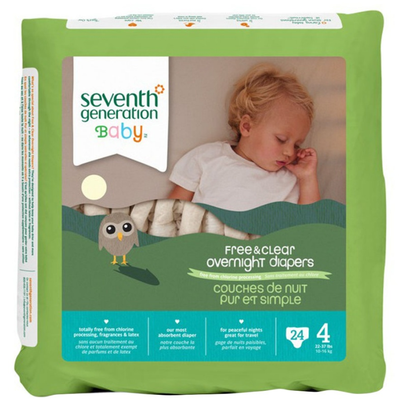 Seventh Generation Stage 4 (22-37 Lbs.) Overnight Diapers 24 Count
