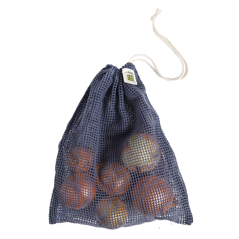 E C O B A G S Storm Blue Net Drawstring Reusable Bags 10 X 12