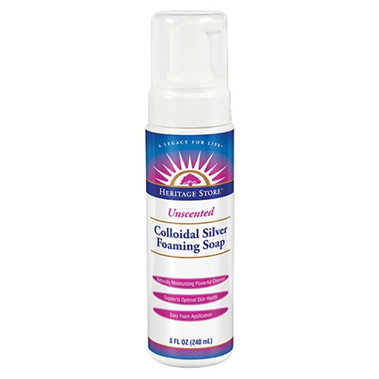 Heritage Store Colloidal Silver Foaming Unscented Soap 8 Fl. Oz.
