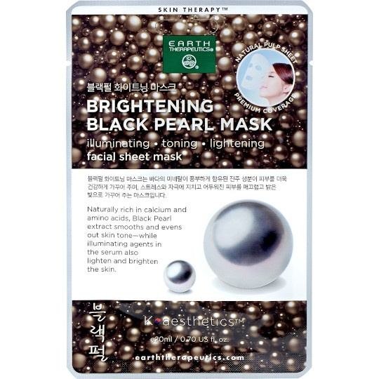 Earth Therapeutics Skin Therapy Black Pearl Facial Sheet Mask 1 Count