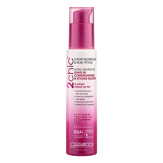 Giovanni 2Chic Ultra Luxurious Cherry Blossom & Rose Petal Leave In Conditioning & Styling Elixir 4 Fl. Oz