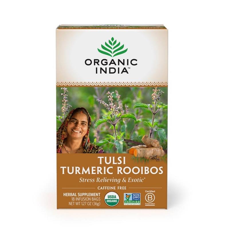 Organic India Turmeric Rooibos Tulsi Infusions Tea 18 Infusion Tea Bags