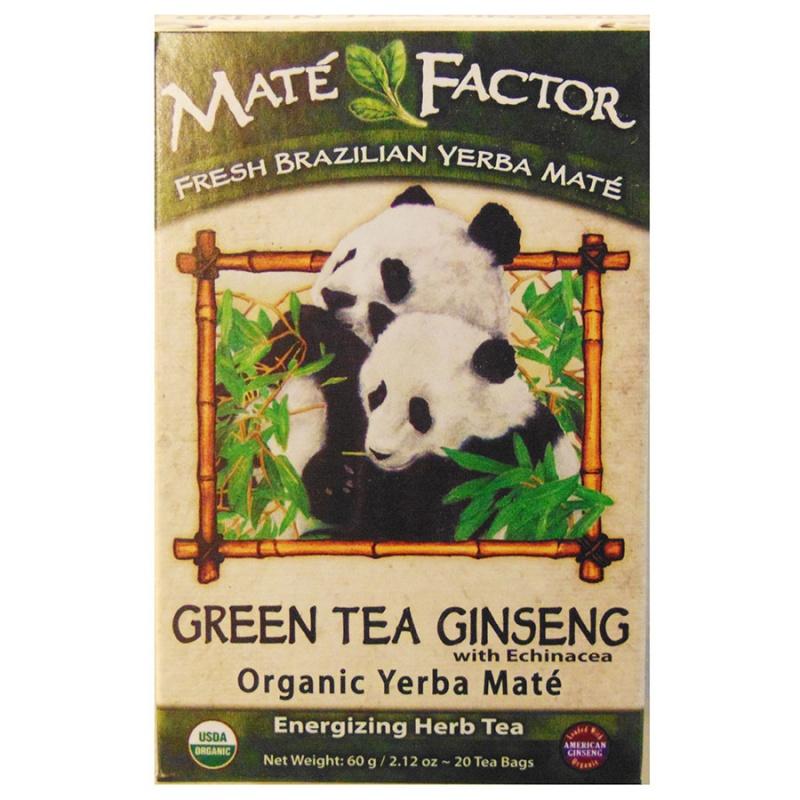 Mat&eacute Factor Green Tea Ginseng With Echinacea Yerba Mate Tea 20 Tea Bags