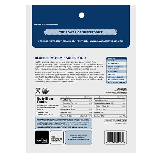 Navitas Organics Blueberry Hemp Power Snacks 8 Oz.
