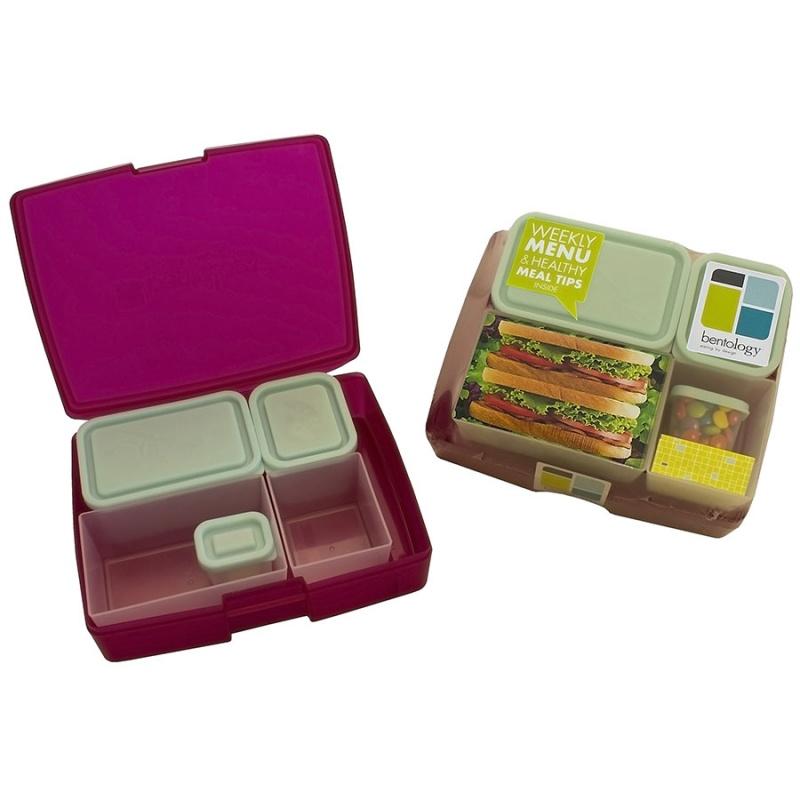 Bentology Raspberry & Blue 6- Piece Classic Bento Box Set