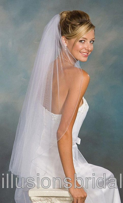Illusions Bridal Colored Veils and Edges with Light Blue Corded Edge 1-361-C-LB
