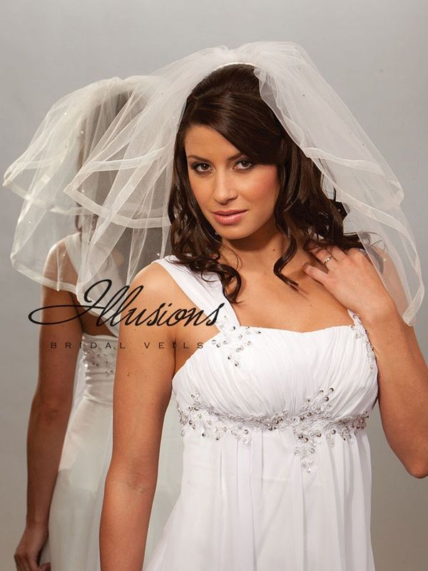 Illusions Bridal Ribbon Edge Veil S5-202-SR-RS: Rhinestone Accent
