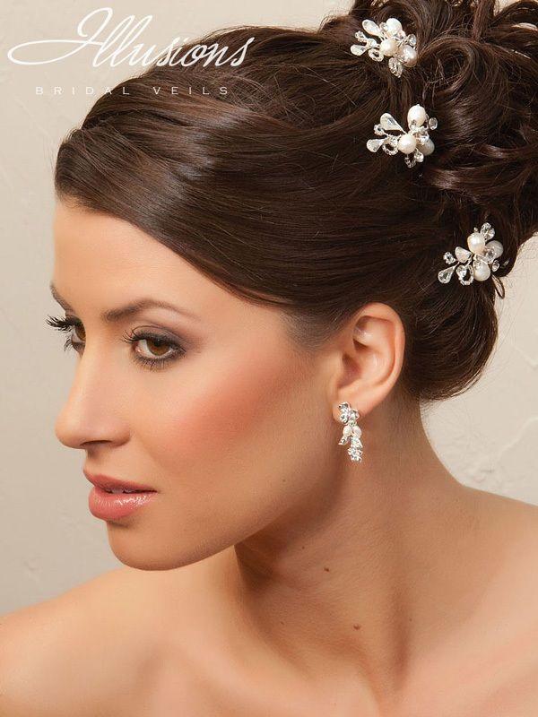 Illusions Bridal Hair Accessories 3289: White/Silver