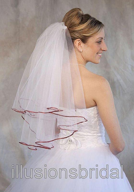 Illusions Bridal Colored Veils and Edges: Burnt Orange Ribbon Edge