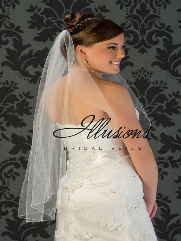 Illusions Bridal Corded Edge Veil C7-361-C: 2 Layer Fingertip
