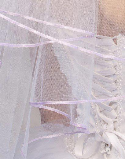 Illusions Bridal Colored Veils and Edges: Lavender Ribbon Edge