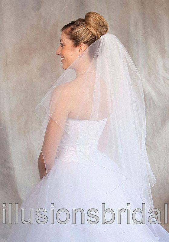 Illusions Bridal Colored Veils and Edges: Antique Silver Corded Edge