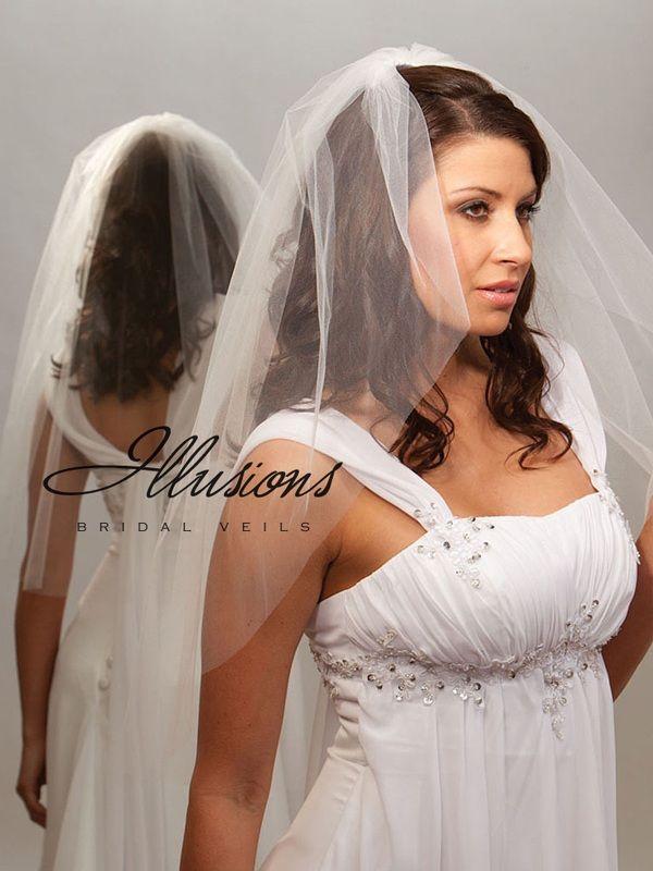 Illusions Bridal Cut Edge Veil 7-301-CT: Rhinestone Accent