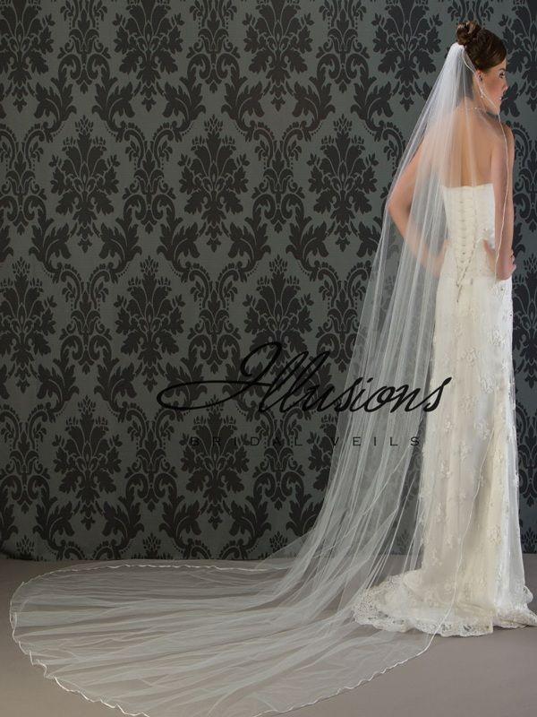 Illusions Bridal Ribbon Edge Wedding Veil C1-1201-1R: Cathedral Length