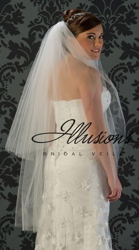 Illusions Bridal Cut Edge Veil S1-452-CT: 2 Layer Knee Length, Rhinestone Accent
