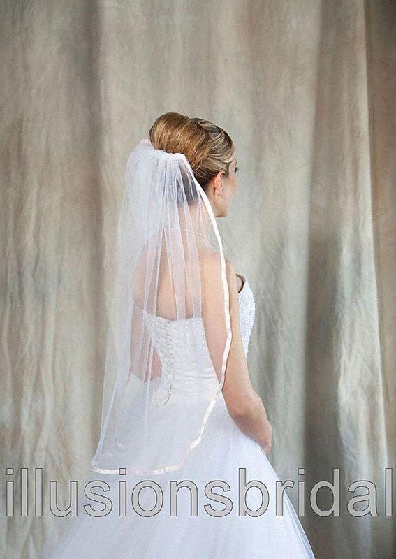 Illusions Bridal Colored Veils and Edges: Blush Pink Ribbon Edge