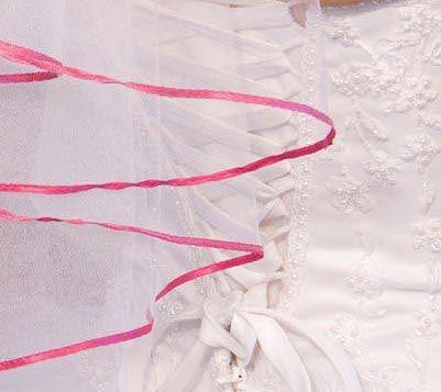 Illusions Bridal Colored Veils and Edges: Fuschia Ribbon Edge