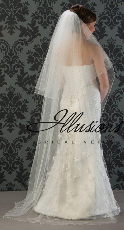 Illusions Bridal Corded Edge Veil C1-722-C: Pearl Accent