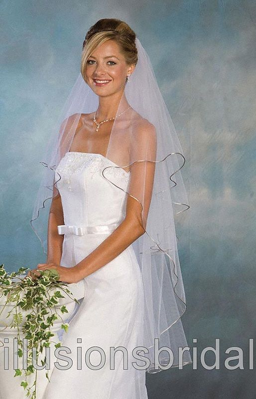 Illusions Bridal Colored Veils and Edges C1-452-RT-AS: Pearl Accent