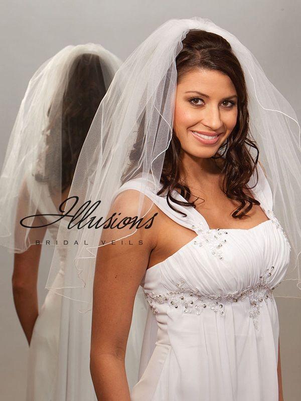 Illusions Bridal Corded Edge Veil 1-251-C: Pearl Accent