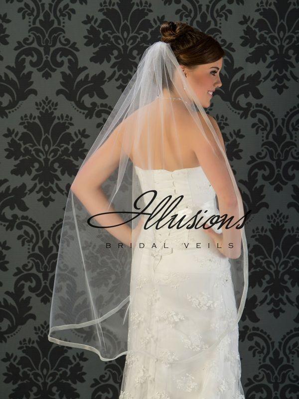 Illusions Bridal Ribbon Edge Veil 5-451-SR: Rhinestone Accent