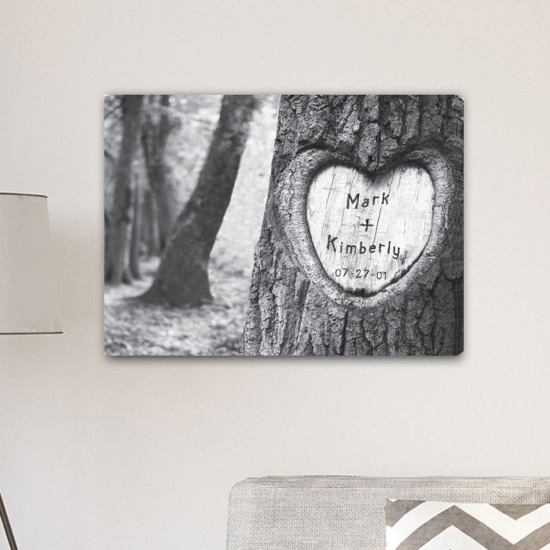 Everlasting Love Tree Carving Canvas