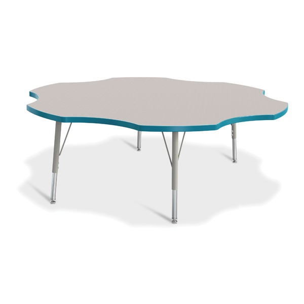 """Berries®Six Leaf Activity Table - 60"""", E-Height - Gray/Teal/Gray"""