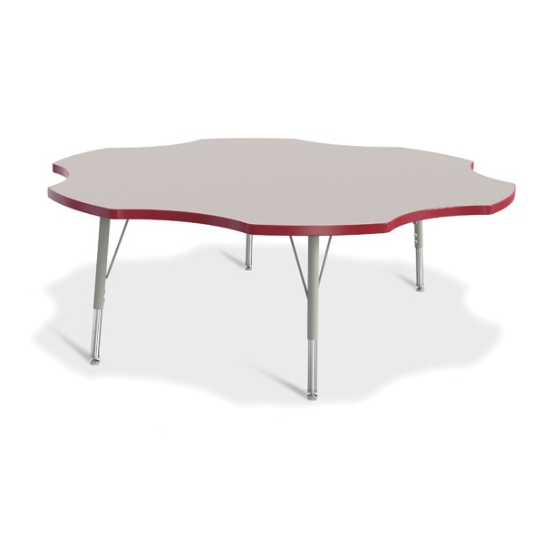 """Berries®Six Leaf Activity Table - 60"""", E-Height - Gray/Red/Gray"""