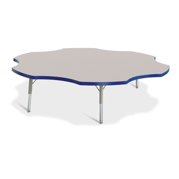"""Berries®Six Leaf Activity Table - 60"""", T-Height - Gray/Blue/Gray"""