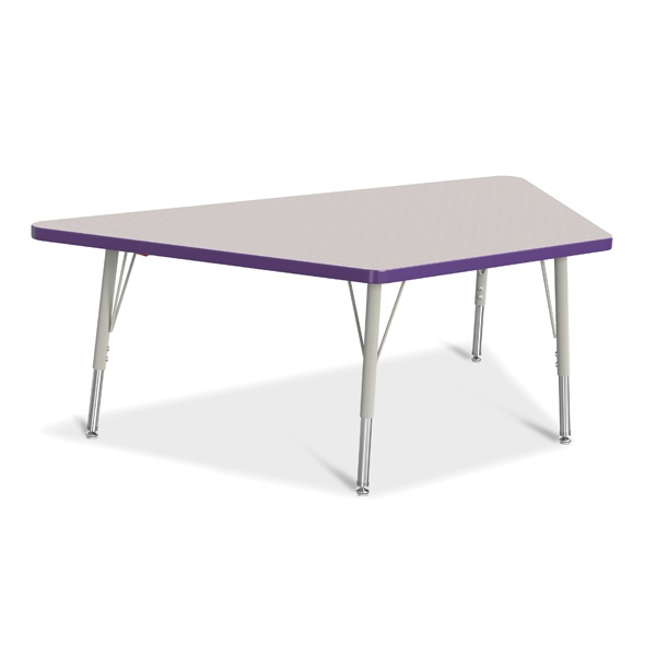 """Berries®Trapezoid Activity Tables - 30"""" X 60"""", E-Height - Gray/Purple/Gray"""