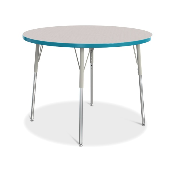 """Berries®Round Activity Table - 42"""" Diameter, A-Height - Gray/Teal/Gray"""