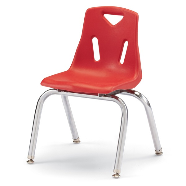 """Berries®Stacking Chairs With Chrome-Plated Legs - 14"""" Ht - Set Of 6 - Red"""