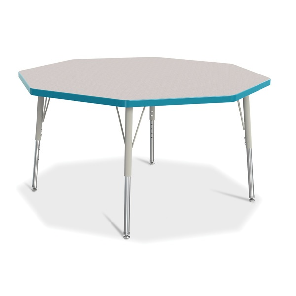 """Berries®Octagon Activity Table - 48"""" X 48"""", E-Height - Gray/Teal/Gray"""