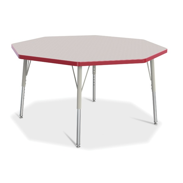 """Berries®Octagon Activity Table - 48"""" X 48"""", E-Height - Gray/Red/Gray"""