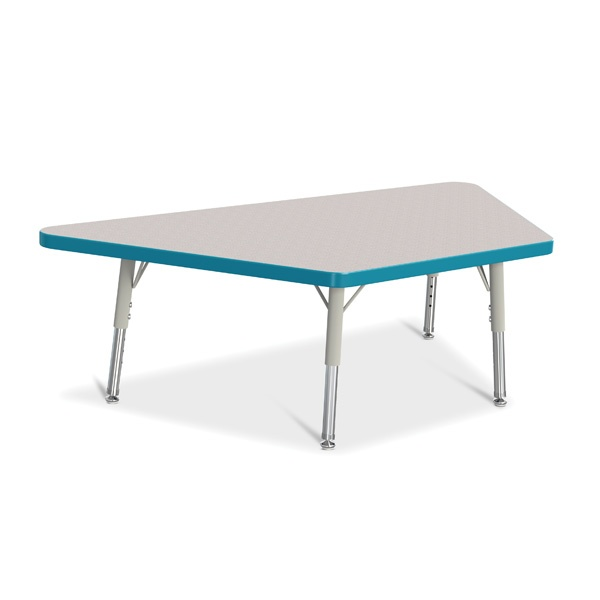 """Berries® Trapezoid Activity Tables - 24"""" X 48"""", T-Height - Gray/Teal/Gray"""