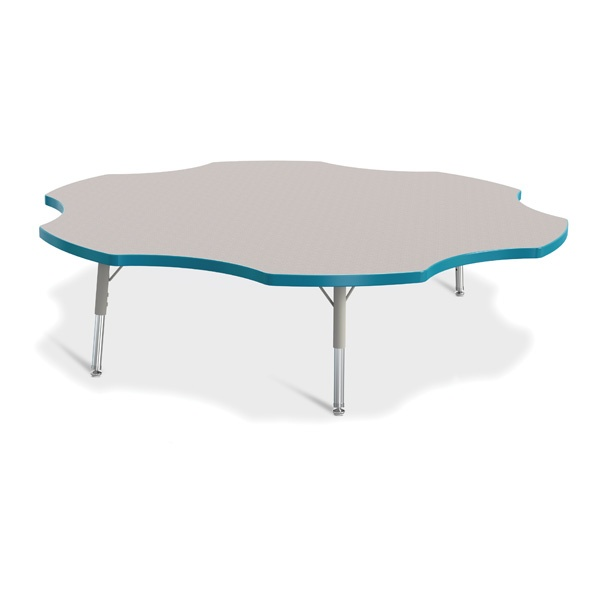 """Berries® Six Leaf Activity Table - 60"""", T-Height - Gray/Teal/Gray"""